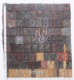 108 piece Vintage Letterpress wood wooden type printing blocks 50m. M. #bc-5033
