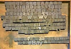 194 Wood Letterpress Print Type Block Upper Lower Letters Numbers Punct. 11/16