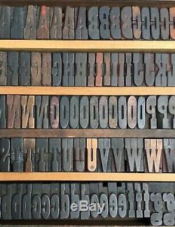 217 Wood Letterpress Print Type Block Upper Lower Letters Numbers Punctuation