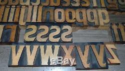 47 Vintage Wood Letterpress Print Type Blocks Letters Lower Case 2 1/2 Tall