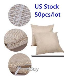 50X Linen Sublimation Blank Pillow Case Cushion Covers DIY Printing Images Logos