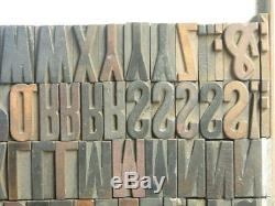 6 line Condensed Gothic Letterpress Wood Type /Comp. Caps 87pcs. FREE SHIPPING