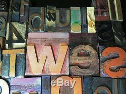 75+ Vintage Wood LETTERPRESS Type Blocks LOT Printing Art Design 1 to 3-3/4