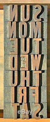 7 Wood 11/16 X 1 7/8 Letterpress Print Type Block Letter Complete Calendar Week