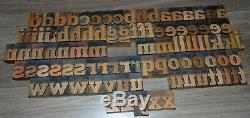 96 1 5/8 Wood Letterpress Printing Blocks Type Lower Case Alphabet