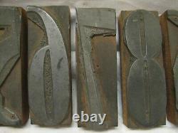 Antique 0-9 numbers 4 Letterpress Art Deco Wood/Metal Block Type Set Printing
