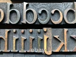 Antique 152 piece set of Letterpress Printing WOOD TYPE Century School Book font