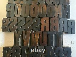 Antique 2 Letterpress Wood Type Printing Blocks Alphabet Uppercase Letters 65+