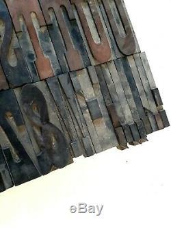 Antique 5 Wooden Type Printing Blocks Complete Alphabet Letterpress 62 Letters