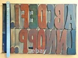 Antique 6 Wood Type Letterpress Printing Kelsey Vandercook