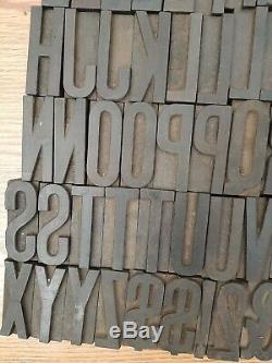 Antique 74 pc Wood Type 2.5 Printing Blocks Alphabet Letterpress Letters Number