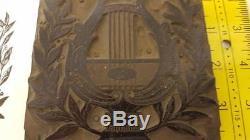 Antique Letterpress Art Deco Copper on wood cut approx 100 years old 4x4 z89
