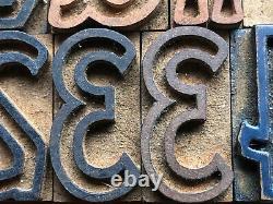 Antique Letterpress Printers WOOD TYPE Alphabet & Numbers VARSITY Font 75 pieces
