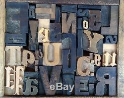Antique Letterpress Printers WOOD TYPE Mix 37 Pieces