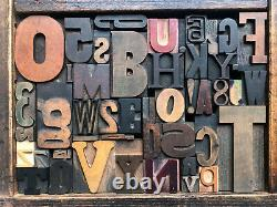 Antique Letterpress Printers WOOD TYPE Mix 47 Pieces with Full Alphabet