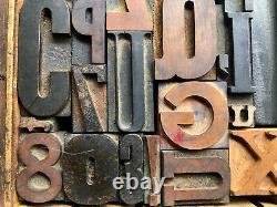 Antique Letterpress Printers WOOD TYPE Mix 47 Pieces with Full Alphabet & numbers