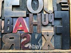 Antique Letterpress Printers WOOD TYPE Mix 52 Pieces with Full Alphabet