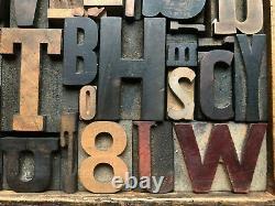 Antique Letterpress Printers WOOD TYPE Mix 53 Pieces with Full Alphabet