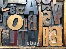 Antique Letterpress Printers WOOD TYPE Mix 55 Pieces with Full Alphabet & numbers