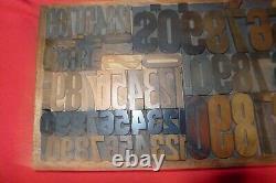 Antique Printing Letterpress Printers Block Wood Type Numbers w box