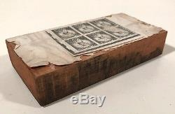 Antique US Postage Stamp Die Copper & Wood Printing Plate 3c Statue of Liberty