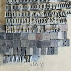 Antique VTG 36pt Narrow Extended Sans Serif Letterpress Print Type Letter Set