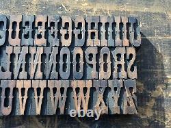 Antique VTG American Type Ornate Fancy Wood Letterpress Print Type Letter Set