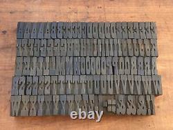 Antique VTG Clarendon Wood Letterpress Print Type Block A-Z Letters Alphabet Set