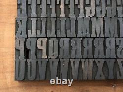 Antique VTG Hamilton Clarendon Wood Letterpress Print Type Block A-Z Letters Set