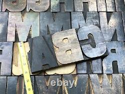 Antique VTG Large 4+ Wood Letterpress Print Type Block Alphabet A-Z Letter Set