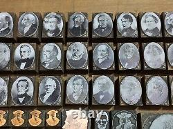 Antique VTG Letterpress President Print Type Cut Block Lot Washington Lincoln