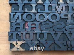 Antique VTG Vanderburgh Wells Wood Letterpress Print Type Block A-Z Letter Set