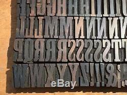 Antique VTG Vanderburgh & Wells Wood Letterpress Print Type Block A-Z Letter Set