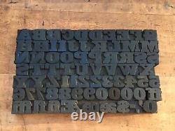 Antique VTG Vanderburgh Wells Wood Letterpress Print Type Block Letters #s Set