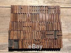 Antique VTG Wood LETTERPRESS Print Type Block A-Z Letters #'s Complete Set Lot