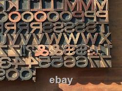 Antique VTG Wood Letterpress Print Type Block A-Z Letters Alphabet #s Comp. Set