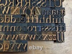 Antique VTG Wood Letterpress Print Type Block A-Z Letters Set