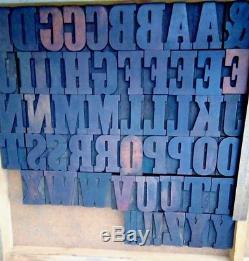 Antique Vanderburgh Wells & Co Wood Type Vandercook LETTERPRESS Printing 2.25