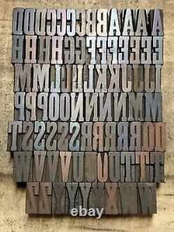 Antique Wood Letterpress Print Type Block Letters, Numbers, Punctuation 1 lotF