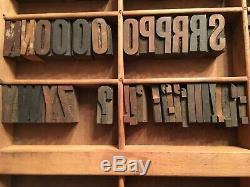 Antique Wood Letterpress Printing Press Type Block Letters Typeset Blocks 61 pc