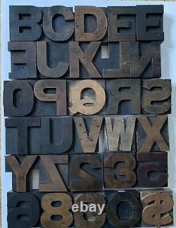 Assorted Vintage Letterpress Wood Type Printing Blocks 2 5/8. 16 Pica