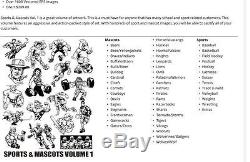 EPS Clip Art Action Illustrated Sports & Mascots Volume's 1 & 2 3000+ Vector