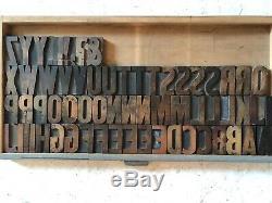 Hamilton Wood Type Gothic 20 line 3.25 Complete Alphabet 65pcs Letterpress