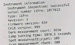 I1 BASIC PRO 2 X-rite rev E- EO2-XR-ULZW Lamp burning time 1070.3 seconds