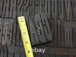 Large 3 3/8+ Antique VTG Clarendon Wood Letterpress Print Type Block Letter Set