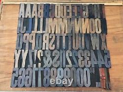 Large 4 Antique VTG Hamilton Wood Letterpress Print Type Block Letters #s Set