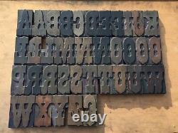 Large 4 Antique VTG Rare Ornate Fancy Wood Letterpress Print Type Letter Set