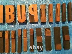 Large 5 Antique Wood Letterpress Printing Press Type Block Letters Typeset