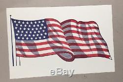 Large Antique Two Color American Flag Letterpress Printer's Block
