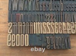 Large Antique VTG TUBBS Wood Letterpress Print Type Block A-Z Letters #s Set